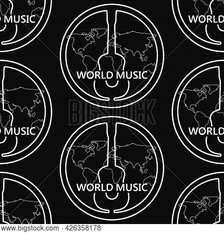 Black And White Pattern With Guitar, Text World Music. Linear White Pattern With A Guitar On A Black