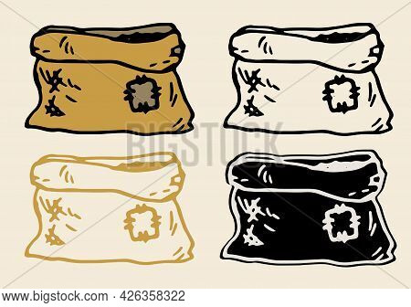 Vector Set Of Garden Brown Bag. An Old Bag With A Patch Drawn By Hand In The Doodle Style. Open Burl