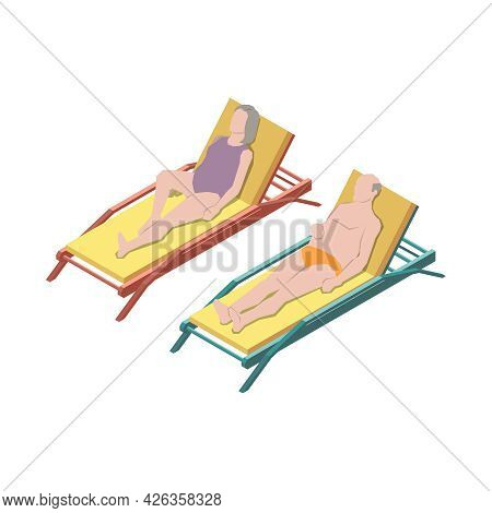 Nursing Home Isometric Icon With Senior Man And Woman Lying On Lounges In Sunshine 3d Vector Illustr