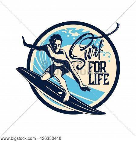 Surfing Hand Drawn Emblem In Retro Style With Young Surfer On Board Vector Illustration