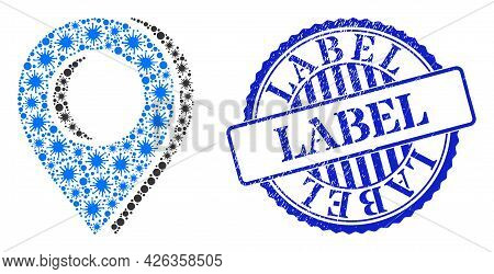 Bacterium Mosaic Map Marker Shadow Icon, And Grunge Label Stamp. Map Marker Shadow Collage For Medic