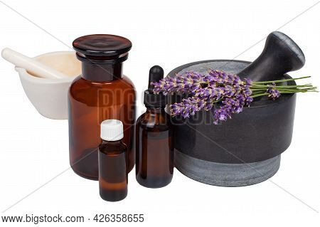 Ceramic Mortar With Lavender Flowers On A White Background. Natural Organic Ingredients Of Herbal Co