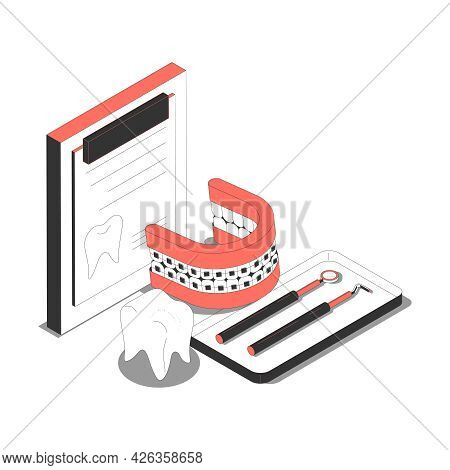 Isometric Dentistry Composition With Dental Prosthesis And Instruments 3d Vector Illustration