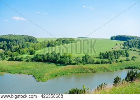 Beautiful Summer Landscape Forests On The Hill And Lakes. Summer Green Countryside Nature Landscape.