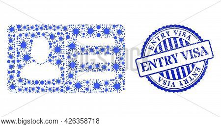 Infection Collage User Account Card Icon, And Grunge Entry Visa Seal Stamp. User Account Card Mosaic