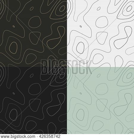 Topography Patterns. Seamless Elevation Map Tiles. Awesome Isoline Background. Elegant Tileable Patt