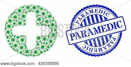 Virus Collage Veterinary Plus Icon, And Grunge Paramedic Seal. Veterinary Plus Collage For Medical T