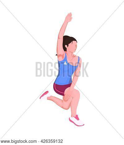 Female Runner Warming Up Before Marathon Isometric Vector Illustration