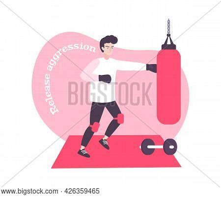 Stress Flat Composition With Man Releasing Aggression By Doing Boxing Vector Illustration