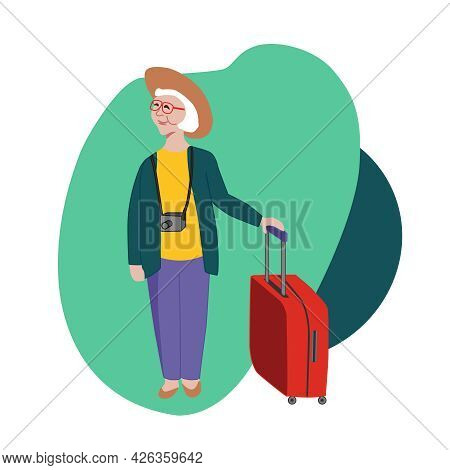 The Pensioner Travels Around The World. An Elderly Happy Woman With A Suitcase And A Camera. Vector