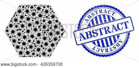 Bacterium Mosaic Hexagon Icon, And Grunge Abstract Seal. Hexagon Collage For Medical Templates, And