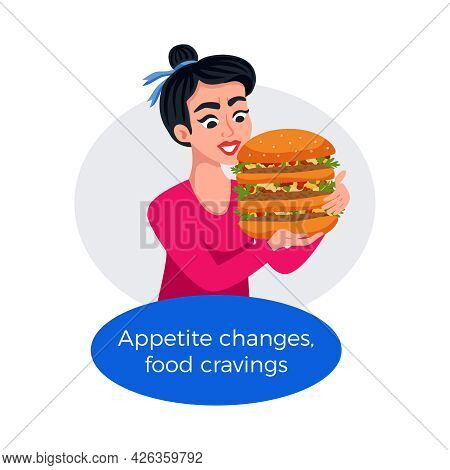 Premenstrual Syndrome Cravings Poster With Woman Eating Big Burger Flat Vector Illustration