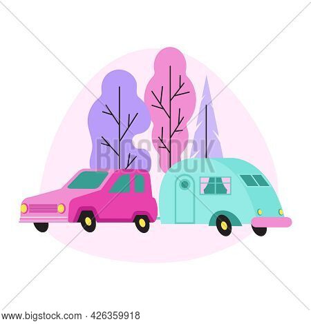 Camp Flat Composition With Colorful Caravan And Passenger Car In Forest Vector Illustration