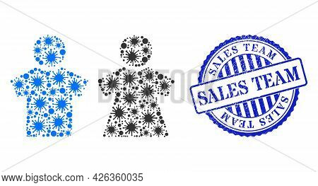 Infection Collage People Couple Icon, And Grunge Sales Team Seal Stamp. People Couple Collage For Pa