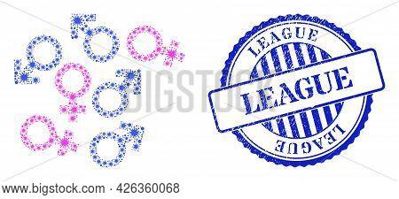 Virus Collage Gender Symbols Icon, And Grunge League Stamp. Gender Symbols Collage For Isolation Ima