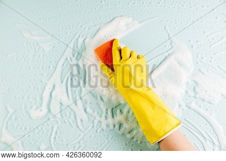 Hands Cleaning Window 2. High Quality Beautiful Photo Concept