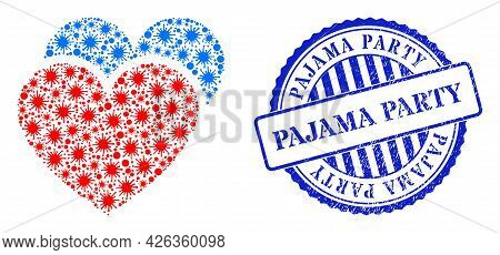 Virus Mosaic Love Hearts Icon, And Grunge Pajama Party Seal Stamp. Love Hearts Mosaic For Pandemic T