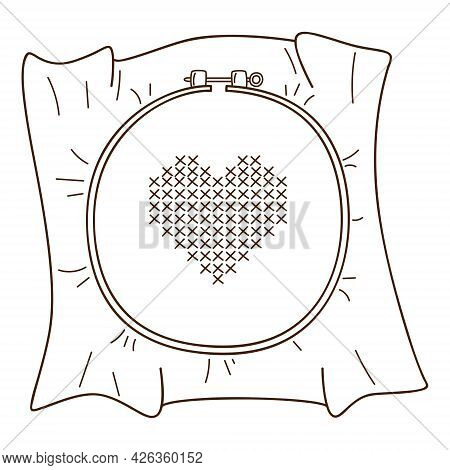 Embroidery On The Hoop. A Heart Embroidered With A Cross. Needlework. Design Element With Outline. D