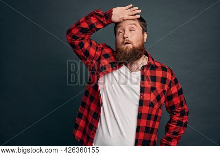 Phew Guy Relieved Finally Got Rid Of Annoying Guests. Tired Handsome Bearded Man Whiping Sweat From