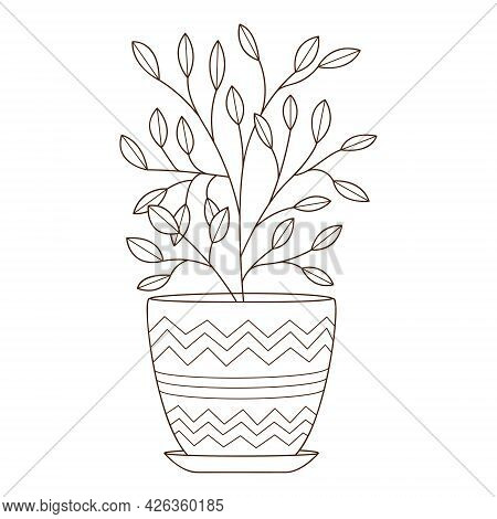 A Houseplant In A Pot With A Pattern. Decorative Design Element With An Outline. Doodle, Hand-drawn.