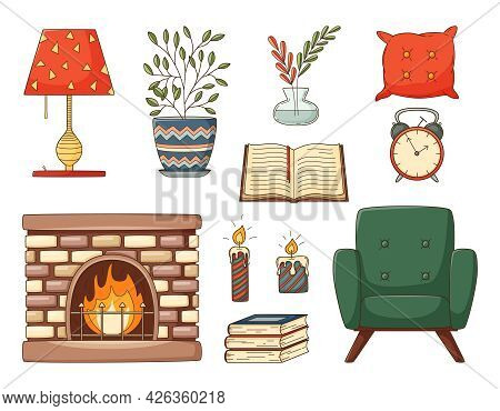 A Set Of Colored Doodles. Home Furnishings, Armchair, Books, Pillow, Fireplace, Vase, Houseplant, Al