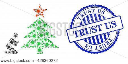 Covid Mosaic Pray To Christmas Tree Icon, And Grunge Trust Us Seal. Pray To Christmas Tree Mosaic Fo