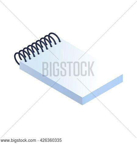 Isometric Spiral Notepad With Blank White Sheets 3d Vector Illustration