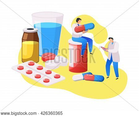 Medical Center Composition With Flat Characters Of Doctors And Medication Vector Illustration