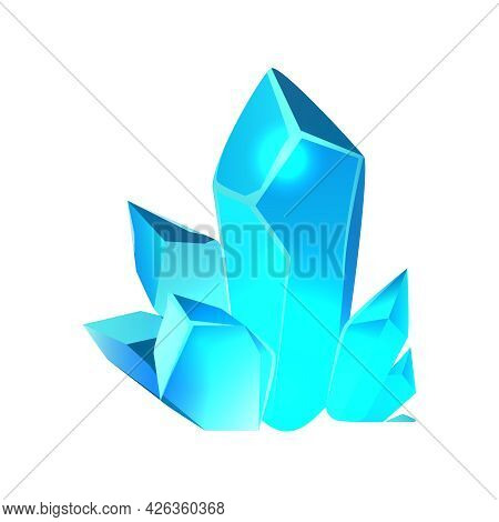 Cartoon Icon With Blue Minerals For Game App Vector Illustration