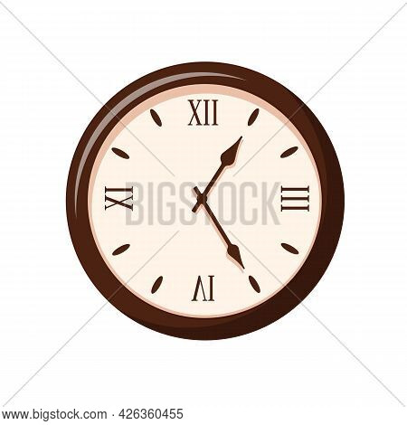 Vintage Clock Isolated On White Background. Retro Clocks With Roman Numerals. Hour Time Clock Concep