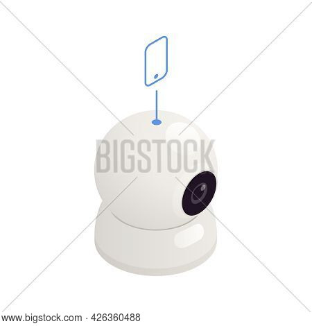 Internet Of Things Isometric Icon With White Surveillance Camera 3d Vector Illustration