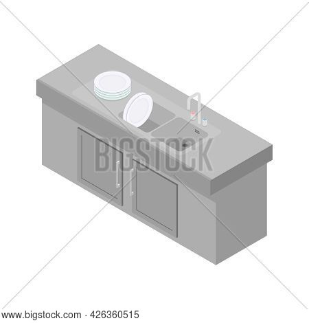 Stainless Steel Sink With Clean Plates In Restaurant Or Cafe Kitchen Isometric Icon 3d Vector Illust