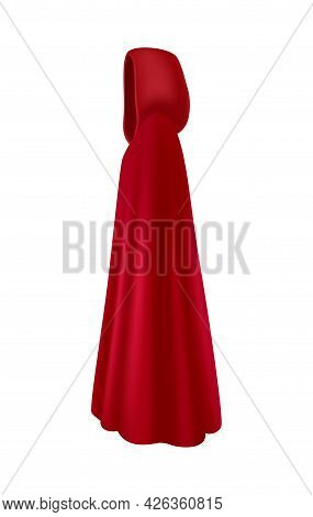 Red Mantle With Hood Side View Realistic Vector Illustration