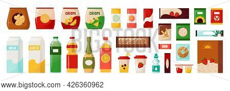 Food Packs. Supermarket Daily Products. Packed Everyday Goods. Isolated Packages For Chips And Cooki