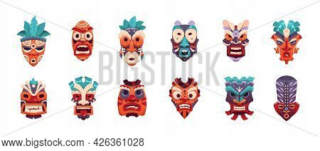 Tiki Mask. Cartoon African And Hawaiian Tribal Decorative Face Masking And Ritual Totem. Isolated Ex
