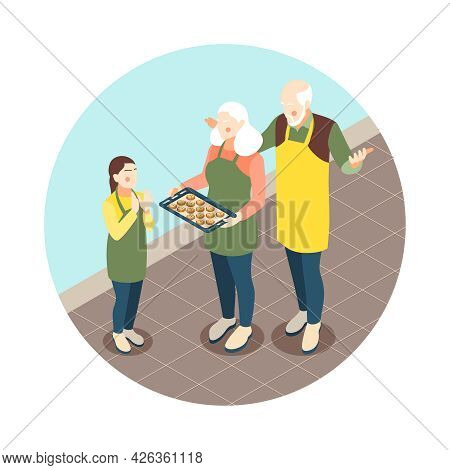 Grandparents Giving Homemade Biscuits To Granddaughter Isometric Composition Vector Illustration
