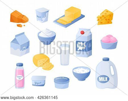 Milk. Cartoon Dairy Products. Yogurt And Cream Bottles. Cheese Or Butter Pieces. Milky Meal Collecti