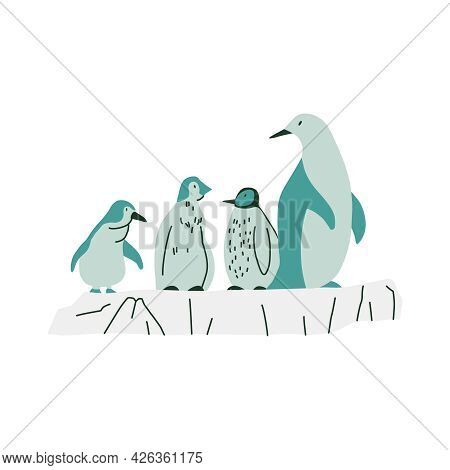 Flat Cute Penguin With Babies Vector Illustration