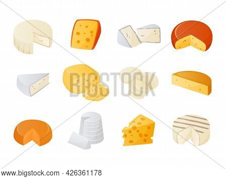 Cheese. Cartoon Milk Products Pieces. Gourmet Dairy Food Set. Dor Blue And Cheddar. Brie Or Camember