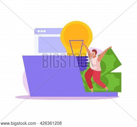 Crowdfunding Flat Icon With Laptop Banknotes And Human Character Vector Illustration