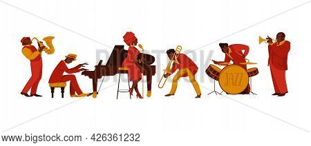 Musicians. Cartoon People With Musical Instruments Playing Melody And Performing On Stage. Happy Jaz