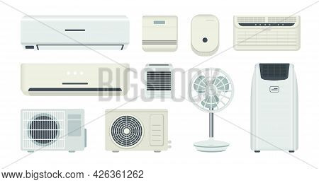 Air Conditioner. Cooling System And Climate Control Equipment. Isolated Breather And Ventilator. Hom