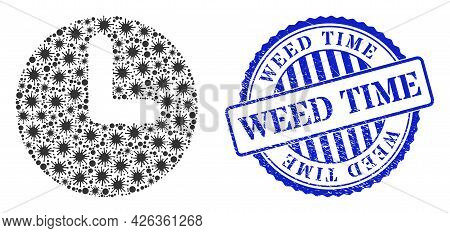 Bacilla Mosaic Time Icon, And Grunge Weed Time Stamp. Time Mosaic For Medical Templates, And Grunge