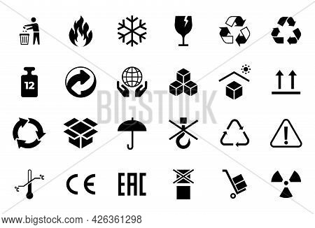 Packaging Symbols. Cartoon Shipping Transportation And Warning Icons. Temperature, Fragile And Do No