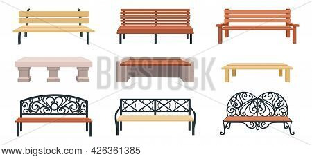 Bench. Cartoon Wooden Outdoor Chair. Street And Park Municipal Furniture. Wicker Garden Seat And Sto