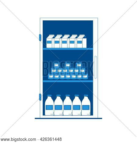 Grocery Shopping Flat Icon With Cartons Tins And Bottles In Fridge Vector Illustration