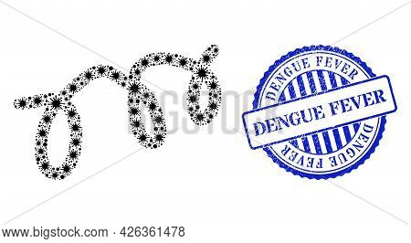 Covid Collage Spiral Microbe Icon, And Grunge Dengue Fever Seal Stamp. Spiral Microbe Mosaic For Pan