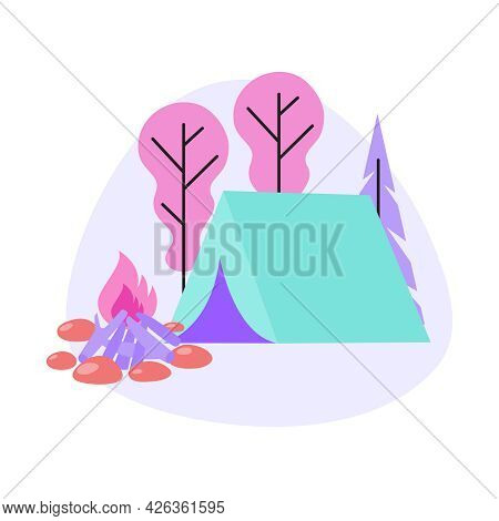 Flat Camp Composition With Tent Campfire In Forest Vector Illustration