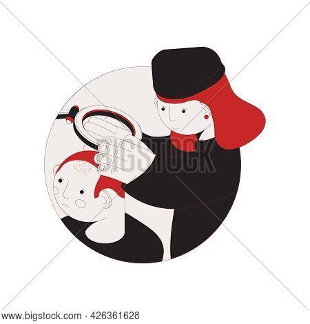 Hair Problem Color Isometric Composition With Doctor Examining Head Of Balding Man 3d Vector Illustr