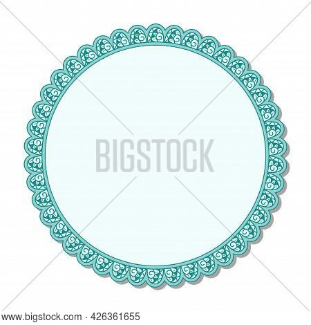 Vector Ornamerttal Frame. Green Linear Ornament. Round Tamplate.